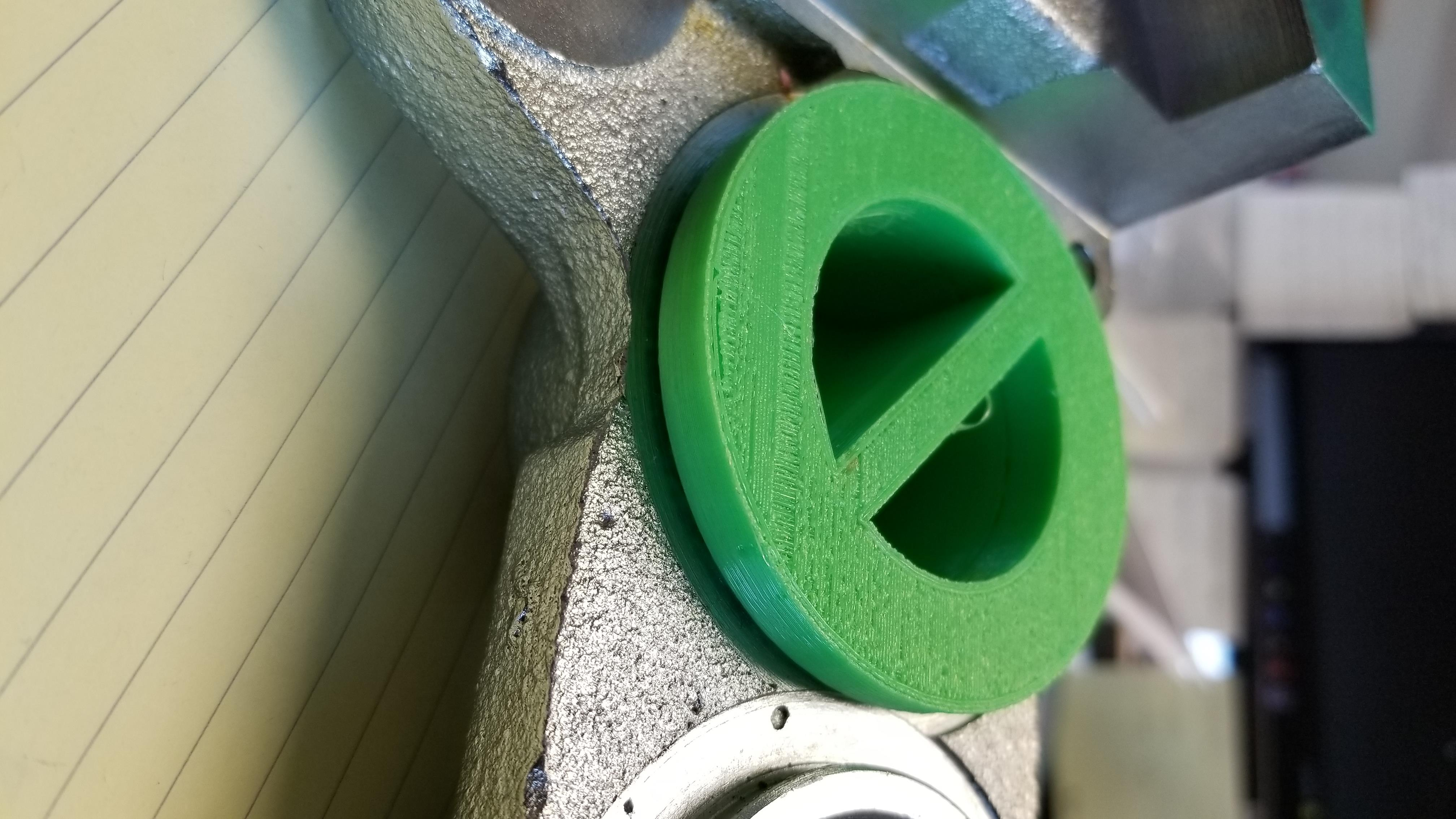 Brake caliper with flexible filament 3D printed prototype masking plug